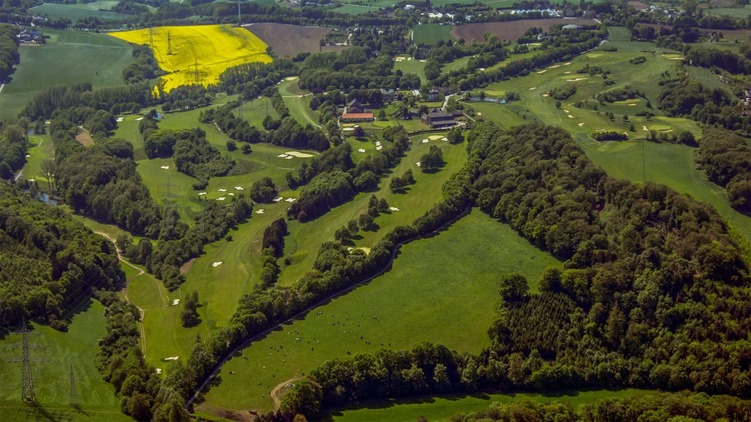 Golfen in Essen – Luftbild vom Golfplatz des Golfclubs Essen-Heidhausen