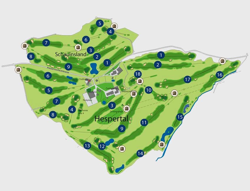 27-Loch-Golfanlage in Essen-Heidhausen, die immer bespielbar ist. Auch bei Golf-Turnieren.